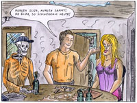 A man talking to a skeleton and a sex doll sitting at a table