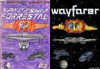 Two versions of a cover. The original 1992 Spaceship Forrestal one and its 2008 remake of wayfarer